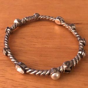 Silver-plated bangle - faux pearls & rhinestones